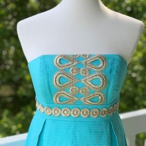 Lilly Pulitzer Turquoise + Gold Betsey Dress